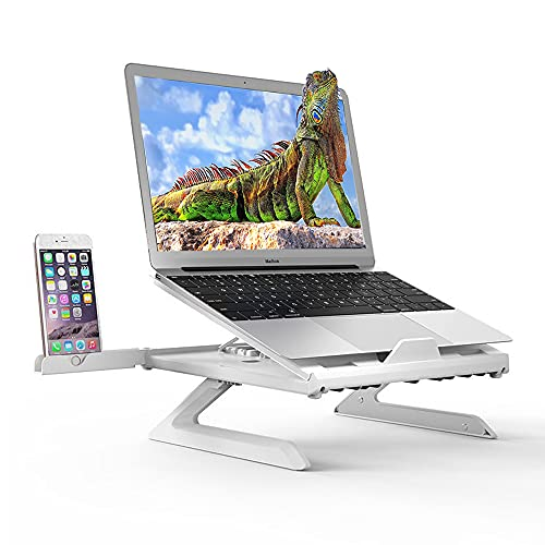 Laptop Stand with Phone Holder, Ergonomic Foldable Laptop Mount Computer Stand, Adjustable Height Laptop Riser Notebook Holder Compatible with MacBook Air Pro, Dell XPS, Lenovo More 10-17' Laptops