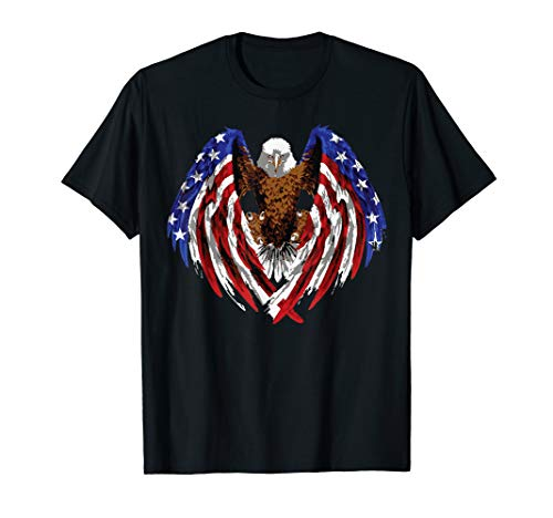 Patriotic Bald Eagle t shirt Eagle, with Flag wings