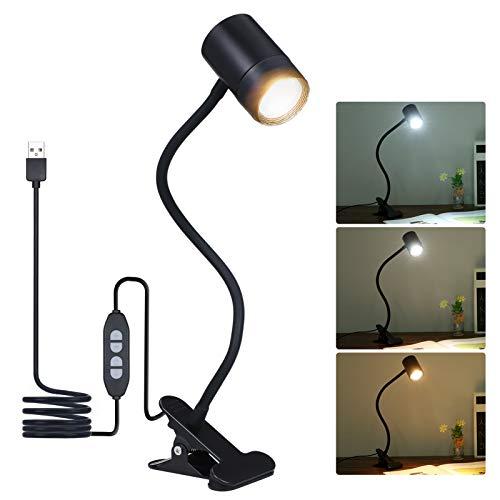 Lampada da Scrivania 8W LED da Tavolo a Clip con Collo Flessibile 3 Modalità di Colore 10 Luminosità Dimmerabile Lampada con Pinza