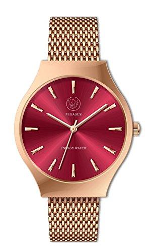 Sunray Energy Watch Boulevard Pantone rot pink Magnet Armbanduhr Amazing Pegasus Kors rosegolden nickelfrei allergiefrei Energetix 4you 2577 im Schmuckpouch