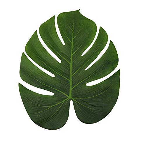 LJDJ Tropical Leaves Palm - Set of 36 - Large 13.8 inch Artificial Silk Fabric Monstera Decoration Leaf - Hawaiian Luau Safari Jungle Beach Theme Party Supplies Table Decor Accessories