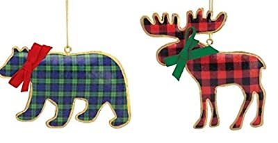 Red Buffalo Plaid Moose & Green Tartan Bear Pillowed Metal Ornaments Bundle, Woodland Christmas Holiday for Rustic Home, Cabin, Hunting Lodge Decor (Set of 2 Pieces)