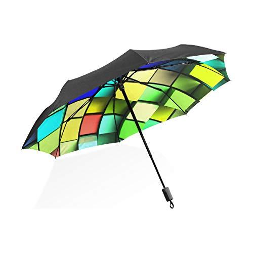 XiangHeFu paraplu kleurrijke kubus patroon 3 vouwen lichtgewicht anti-UV
