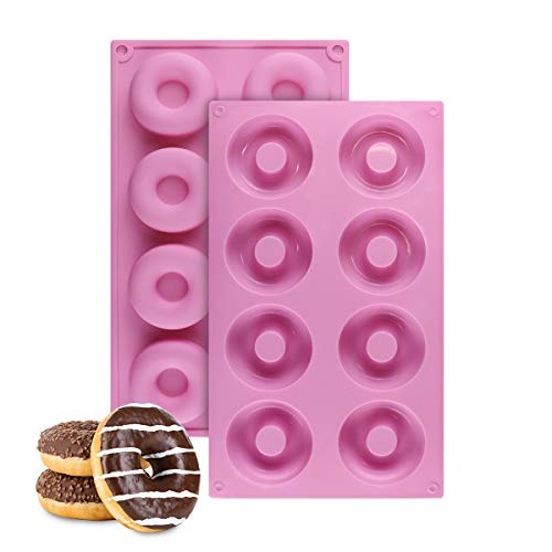 Food-Grade Silicone Donut Baking Pan, Non-Stick 8-Cavity Donut Mold, Set of 2 (Pink)