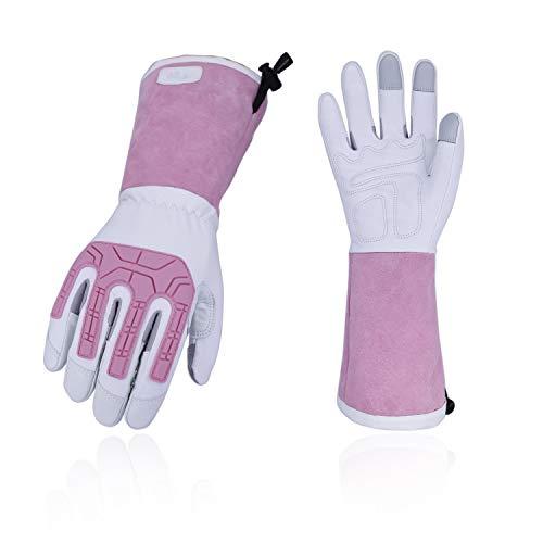 Vgo Rosagarten- und Arbeitshandschuhe, mit Langen Armen und Soften Ziegenlederpalmen, für Rosa oder Kaktusgartebarbeit, Anti-vabrasion, Anti-vabrasion, weibliche Handschuhe (7/S, Weiß & Rosa)