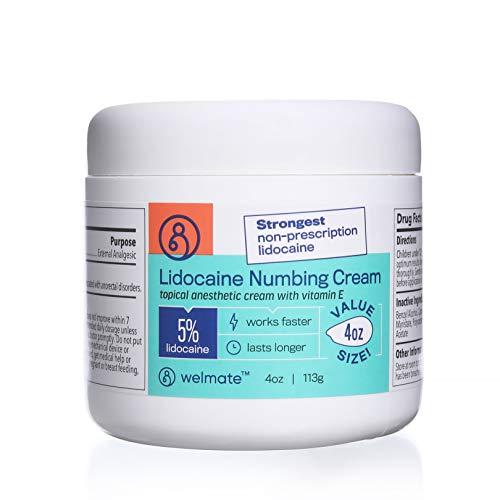Welmate Lidocaine 5% Numbing Cream | Maximum Strength | Value Size 4 oz Jar