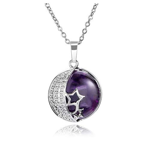 JSDDE Natural Amethyst Crystal Necklace Silver Moon Star Wrap Healing Gemstone Pendant Necklaces Jewelry
