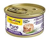 GimDog Pure Delight, pollo con atún - Snack para perros rico en proteínas, con carne tierna en deliciosa gelatina - 12 latas (12 x 85 g)