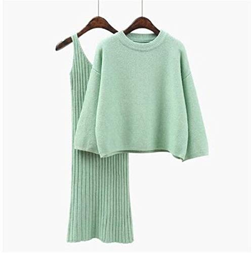 WGROBU Strickkleid Herbst Winter Pullover Dress Set Einfarbig Weiblich Lässig Zweiteilig Anzüge Lose Pullover Rippenstrick Mini Dress Set