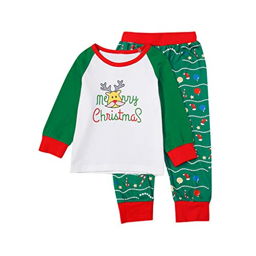 Yncc Pyjama de Noël Famille Femmes Noël Mère Ensemble Pyjamas Deux Pièces Set Pull-Over à Manches Longues Top et Rayure Pantalon Sleepwear Renne Vêtement Nuit Sleepsuit Vert
