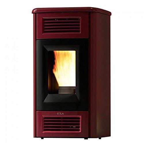 Calefactor de pellets 12,5 kW Perla Lux Anselmo Cola Burdeos