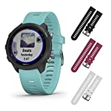 Garmin Forerunner 245 GPS Running Smartwatch with Included Wearable4U 3 Straps Bundle (Aqua Music 010-02120-22, Black/Berry/White)
