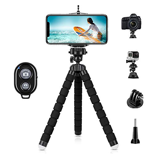 YeahWhee Phone Tripod, Flexible Cell Phone Selfie Stick Tripod Stand Camera Tripod Holder with Wireless Bluetooth Remote and Universal Clip for iPhone, Android Phone, Sports Camera GoPro