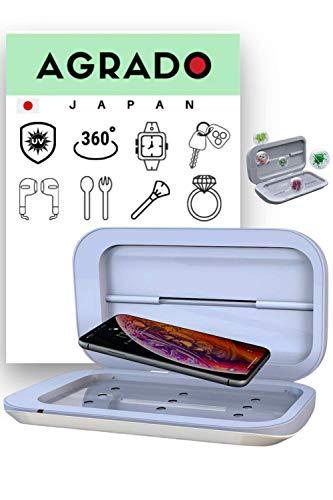UV Sterilisator【Easy to use】von Agrado Sterilisation 99,9% Box Desinfektion Handy,Reinigungsgerät für Smartphone, Ohrhörer,Watches,Schmuck S1 (White)