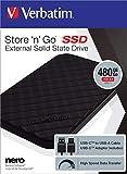 Verbatim Store 'n' Go externe SSD - 480 GB - tragbarer Datenspeicher mit USB 3.1 mit USB-C, Hochgeschwindigkeits-Datenübertragung - schwarz