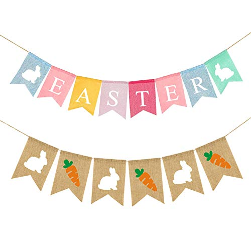 Easter Bunny Burlap Banner, Bunny Hanging Flags, Colorful Home Bunting Banner Decorations, Double Sided Flags Garland with Felt Bunny, Use for Easter Birthday Parties Baby Shower Home Decoration