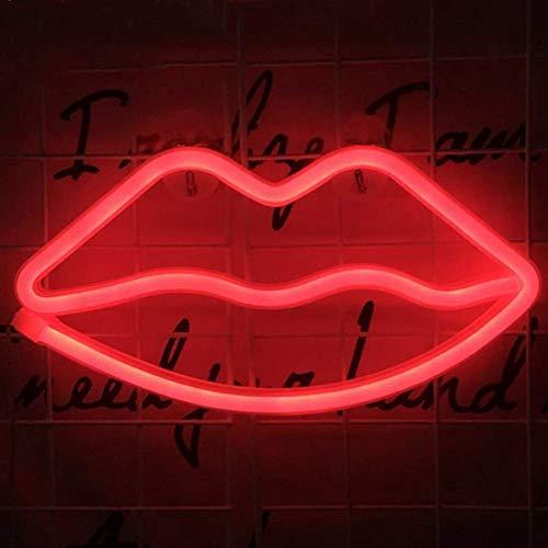 LED Nacht Neon Licht Lippen Mond Stern Katze Design Weich Licht Wand Dekoration Lampe Foto Requisiten für Garten Rasen Verbindung Weihnachten Hochzeit Party Dekor Show, red Lips