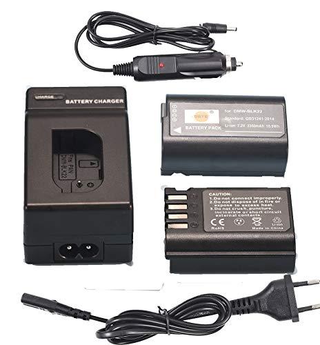 DSTE(2 Pack) Ersatz Batterie und DC180E Reise Ladegerät Compatible für Panasonic DMW-BLK22 DC-S5 DC-S5KK Camera,Sigma BP-61 Battery as DMW-BTC15