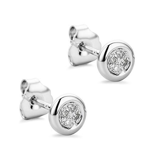 Orovi Ohrstecker Diamant Ohrringe Set,Damen Weißgold Ohrstecker 9 Karat (375)Brillanten 0.03crt