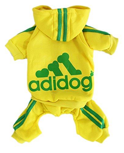 Scheppend Adidog Cane Felpe Cotone Cane Gatto Maglione Cucciolo di T-Shirt Primavera Cappotto Vestiti Giallo S