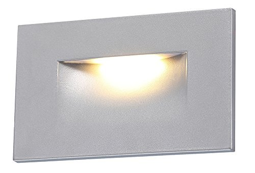 Cloudy Bay 120V LED Step Light,Indoor Outdoor Stairway Deck Lighting,3000K Warm White Stair Light,Silver Finish