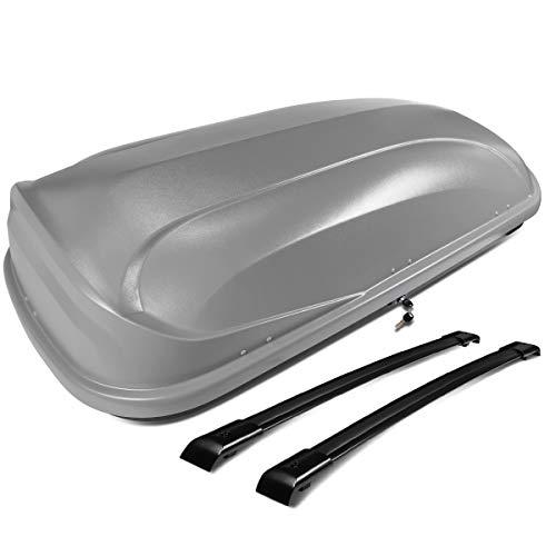 DNA Motoring PT-ZTL-8095-GY Pair Aluminum Roof Rail Cross Bars+Cargo Box Baggage Carrier w/Lock+Keys