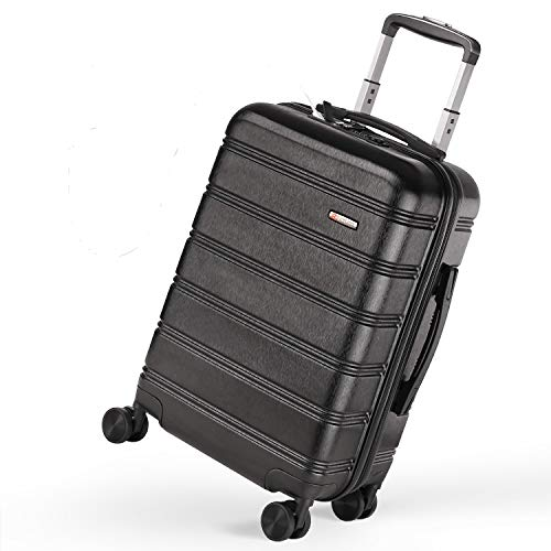 Buy REYLEO Luggage 20 Inch PC+ABS Carry on Luggage Travel Suitcase with USB Charging Port Built-in T...