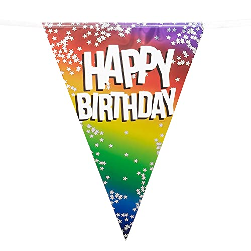 Boland 30282 Happy Birthday Rainbow Multi-Coloured Foil Birthday Bunting Party Banner Decoration Accessory 6m