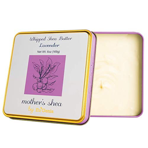 Mother's Shea by Eu'Genia Shea Butter (Lavender Scent, 6 Oz Tin) 100% Pure Raw Unrefined African Shea - Organic, Sustainably-Sourced Ingredients - Natural Skin & Hair Care