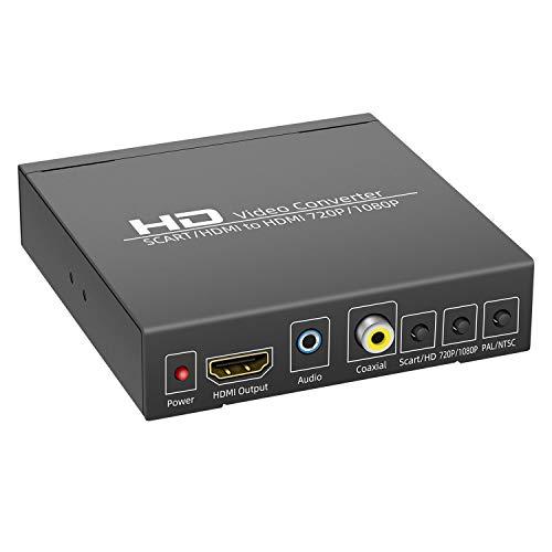 Scart- und HDMI-zu-HDMI-Konverter, 1080p, Scart-zu-HDMI-Adapter, unterstützt 3,5 mm und Koaxial-Stereo-Audio-Ausgang, kompatibel mit HDTV, DVD, Laptop, STB (schwarz)