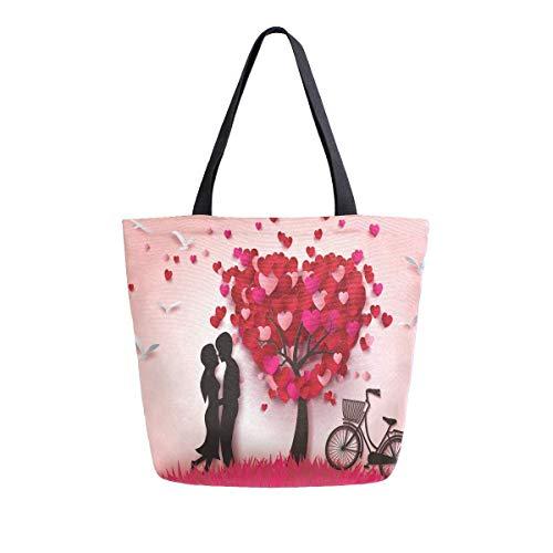 Bolsa de lona para el día de San Valentín con dos enamorados para mujeres, viajes, trabajo, compras, compras, asa superior, bolsos grandes, reutilizables, bolsas de hombro de algodón