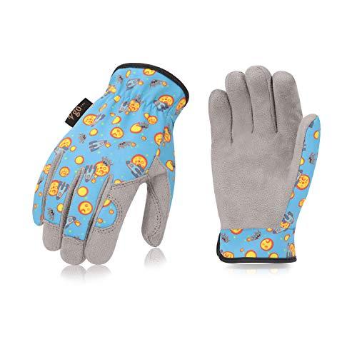 Vgo Kinder von 2-4 J.A, Kinderarbeits- und Gartenhandschuhe, weiche Mikrofaserhandfläche, Handrücken aus Flex, atmungsaktiv (1 Paar, Kid-XS, Blau, KID-MF7362)