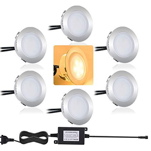 Bojim 6PCS Focos LED Empotrables de Suelo para Exterior, Blanco Cálido 3000K, Impermeable IP67, Diámetro 32mm 0.6Watts 12V-DC, Lámpara de Subterránea para Senderos