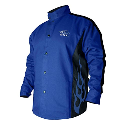 Revco 2XL BSX Flame-Resistant Welding Jacket - Blue with Blue Flames, BXRB9C - 2XL