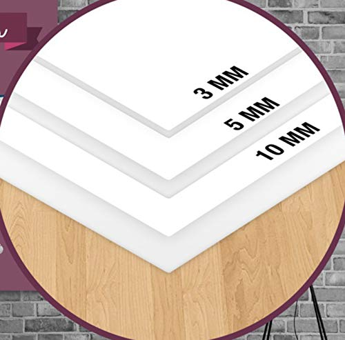 Forex PVC-Platte in Weiß, verschiedene Stärken und Größen, hohe Qualität, ideal zum Drucken oder Beschichten, leicht und robust, kratzfest, Platte (Dicke 5 mm, 40 x 50 cm)