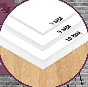 Forex – Panel de PVC blanco – Diferentes grosores y dimensiones – Alta calidad – Ideal para impresión o revestimiento – Ligero y resistente – Antiarañazos – Placa de grosor 3 mm 20 x 30 cm