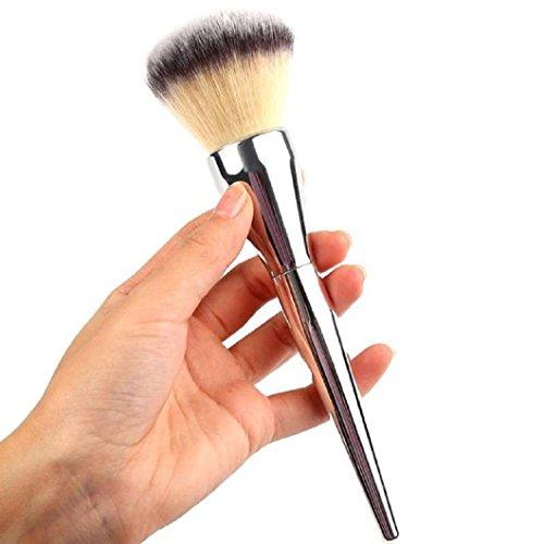 Pennelli Trucco BZLine, 1Pc Pennelli Make up Professionali - Pennello Fondotinta Polvere per Viso - Argento
