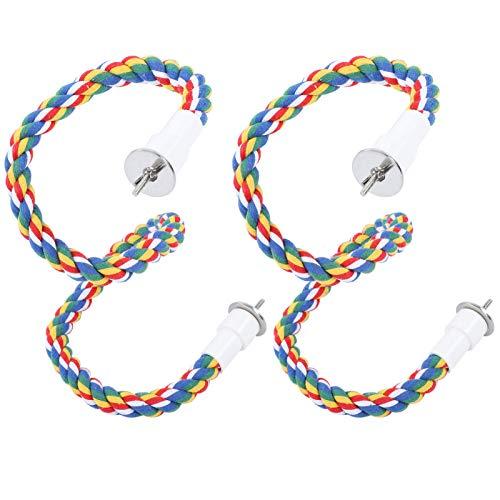 Cikonielf 2 Piezas de Cuerda para Masticar pájaros, Soporte de Percha de pájaro de Colores Brillantes, Juguetes de Escalera de algodón para Loros, periquitos(60CM)
