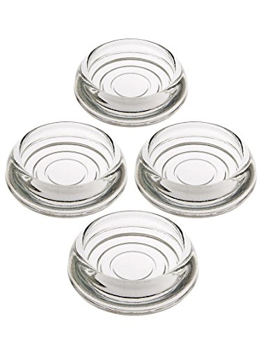 House of Antique Hardware R-08SE-0140002 Set of 4 Glass Furniture Caster Cups - 3' Diameter in Clear Glass