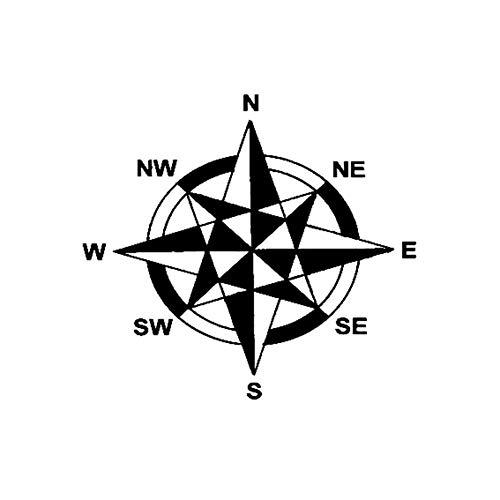 Autocollant De Voiture 16.8Cm * 15.2Cm Vinyle Autocollant De Voiture Decal Design Art Boussole Navigation Ouest Est Noir/Argent