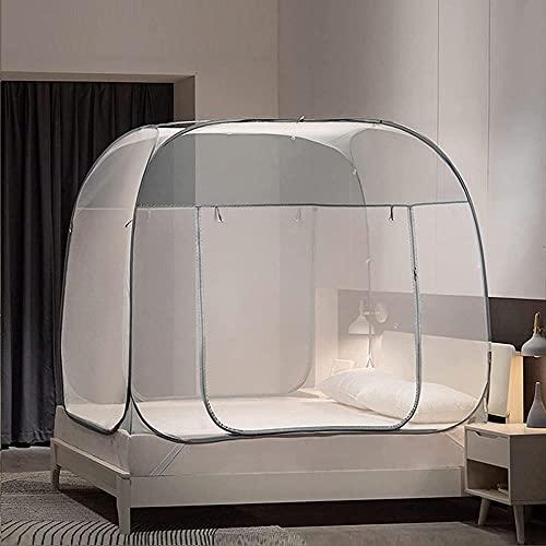 QPP-CL Pop Up Mosquito Net para Cama Queen Size Mosquito Plegable Netificación con Cama Queen Tamaño Cama con Dosel Fácil de Instalar