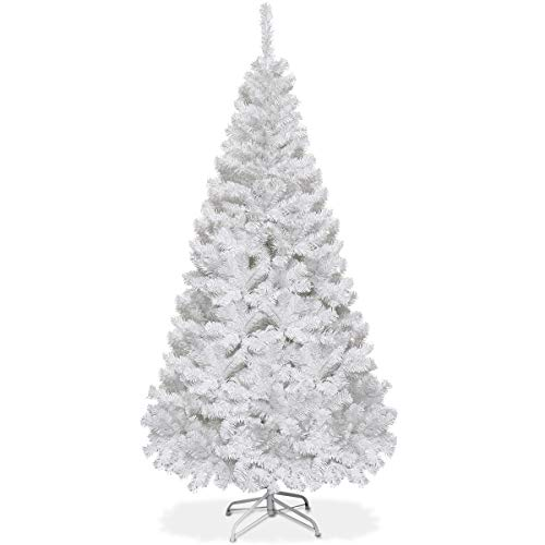 Goplus Artificial Christmas Tree Xmas Pine Tree with Solid Metal Legs Perfect for Indoor and Outdoor Holiday Decoration (White, 6 feet)