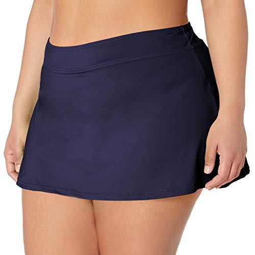 Anne Cole Women's Plus-Size Solid Rock Skirted Bikini Swim Bottom, New Navy, 24W