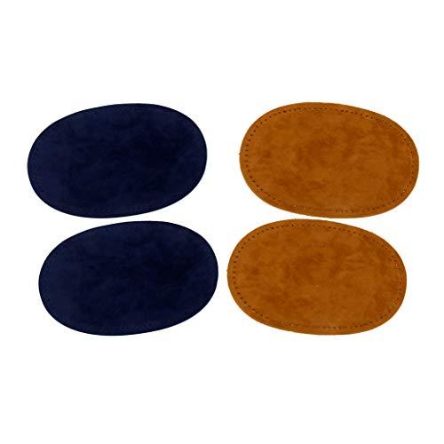 2 Pares de Parches de Piel Pegatina de Reparación Rodillera de Termoadhesivas - Azul Marrón