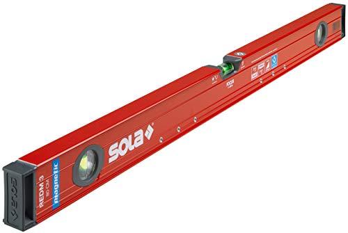 SOLA RedM 80 - Wasserwaage magnetisch 80 cm - starker Halt durch Neodym Magnete - Wasserwaage mit Magnet 80cm - patentierte SOLA-Focus Libelle - mit schockabsorbierenden Endkappen