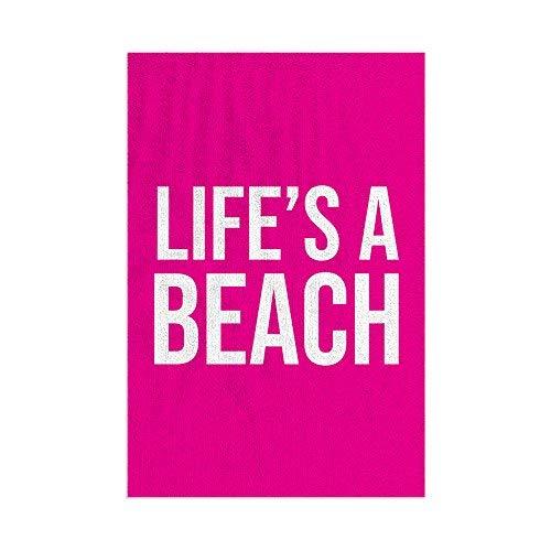 L&S PRINTS Life's a Beach - Toalla de playa de microfibra, divertida, regalo rosa