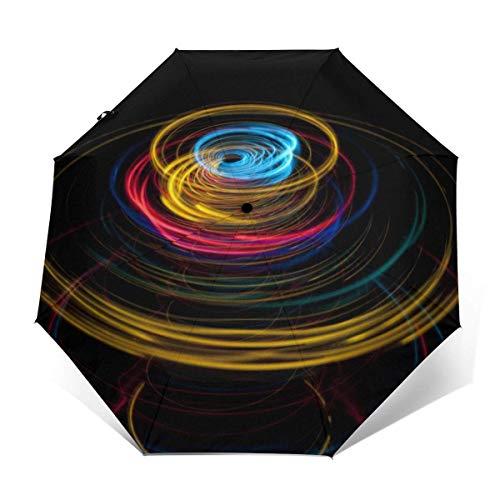 Parasol automático de tres pliegues con disco giratorio (interior de vinilo)