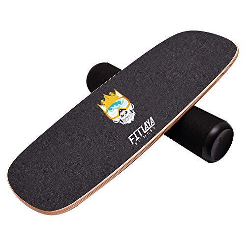 Fitlaya Fitness Balance Board Trainer Wooden Training Equipment for Fitness Workout, Hockey, Skateboarding, Surfing and Snowboarding (Crown Skull)