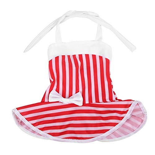 Baby meisje schattige witte rode strepen strips bowknot ruches strand badpak badmode eendelig badpak bikini outfit halster rugvrij romperjurk 110