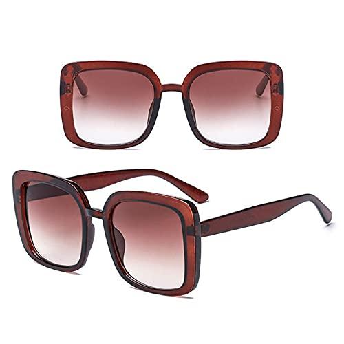 ShZyywrl Gafas De Sol Gafas De Sol Cuadradas con Montura Grande Mujeres Candy Colors Frame Gradient Tea